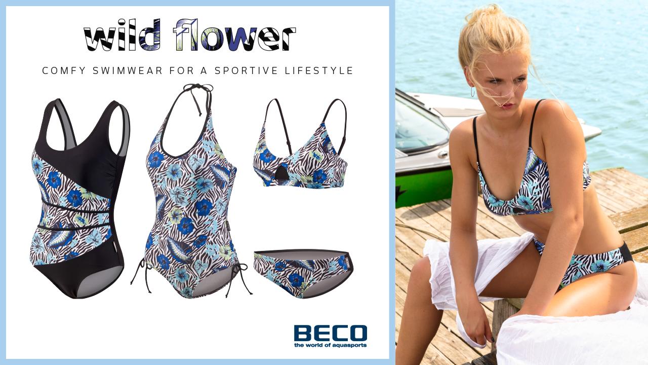 Klassischer Badeanzug, variabler Neckholder-Anzug und Bustier-Bikini mit tropischem Print